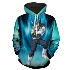 Dragon Ball Z Vegeta Super Saiyan In God Form Blue Hoodie