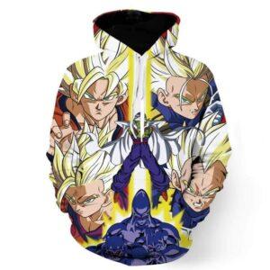 Dragon Ball Goku Vegeta Saiyan Piccolo Namekian Vibrant Design Hoodie
