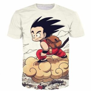 Flying Cute Kid Goku Cloud Nimbus Vintage Beige DBZ T- Shirt - Saiyan Stuff - 1