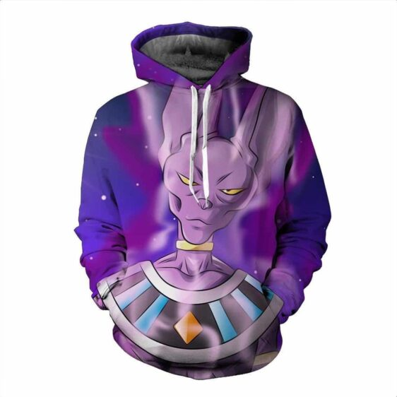 God of Destruction Beerus DBZ Powerful Strength Trendy Violet Hoodie