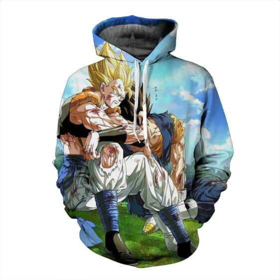 Gogeta and Vegito Fantastic Two Ultimate Battle Damage Trendy Hoodie