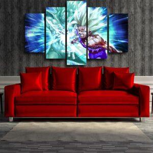 Goku And Gohan Super Saiyan Kamehameha Wave Blue 5pcs Canvas