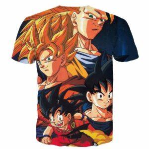 Goku Evolution from Kid to SSJ3 Transformation Dopest 3D T- Shirt - Saiyan Stuff