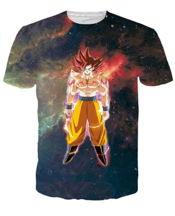 Goku Flying in Outer Space Galaxy 3D Black T-shirt - Saiyan Stuff