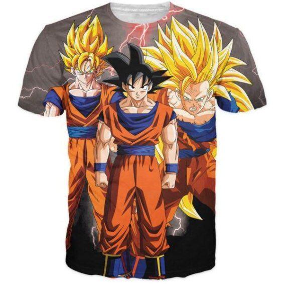 Goku Transformation Thunder Black Super Saiyan All Over Printed T-Shirt - Saiyan Stuff