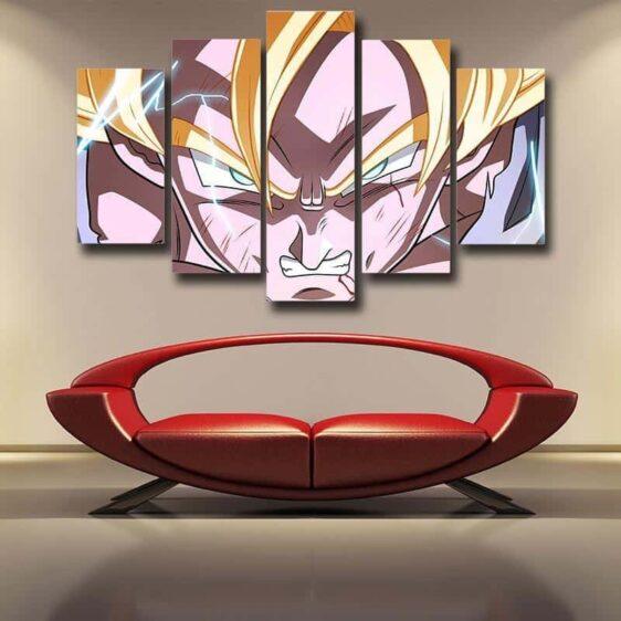 Goku Super Saiyan Power Decor House Room 5pc Canvas Prints Wall Art