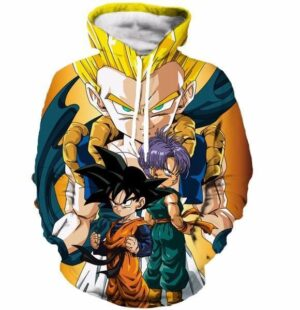 Goten Trunks Gotenks Fusion Super Saiyan Orange 3D Hoodie - Saiyan Stuff