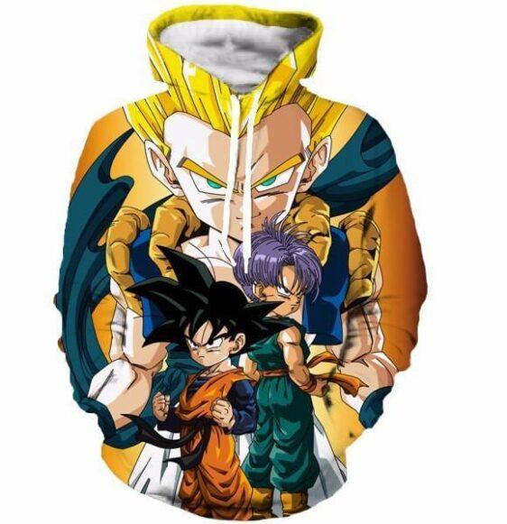 Goten Trunks Gotenks Fusion Super Saiyan Orange 3D Hoodie - Saiyan Stuff