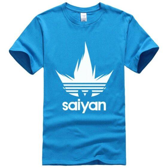 DBZ White Saiyan Adidas Parody Print Light Blue T-Shirt