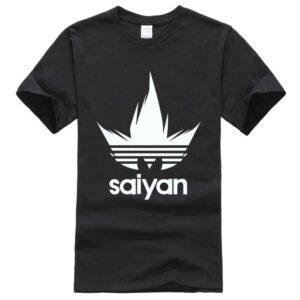 Dragon Ball Z White Saiyan Adidas Parody Black T-Shirt