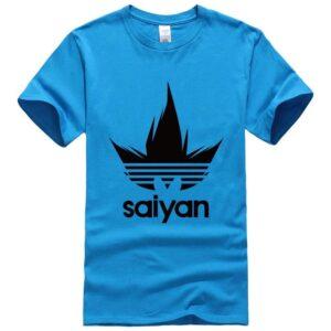 DBZ Black Saiyan Adidas Parody Print Light Blue T-Shirt