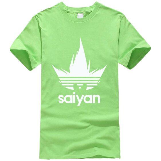 DBZ White Saiyan Adidas Parody Print Light Green T-Shirt