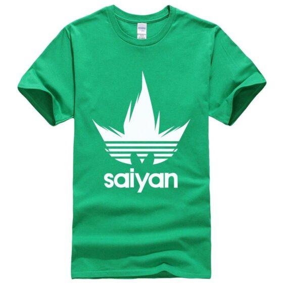 DBZ White Saiyan Adidas Parody Print Dark Green T-Shirt