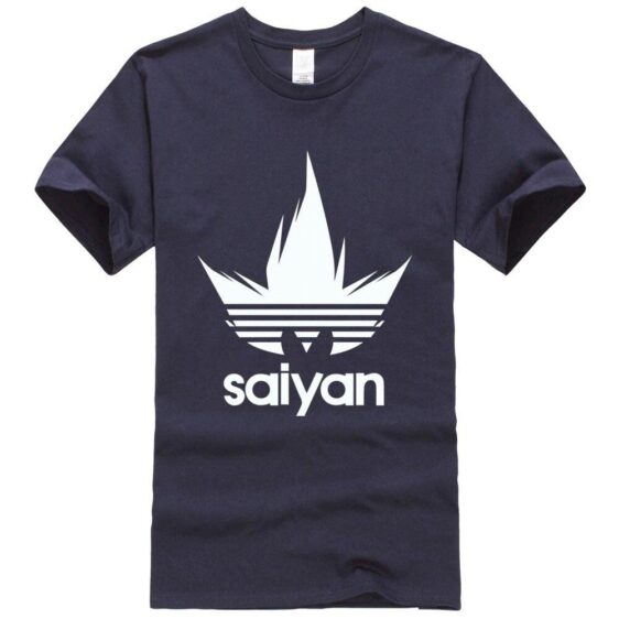 Dragon Ball Z White Saiyan Adidas Parody Navy Blue T-Shirt