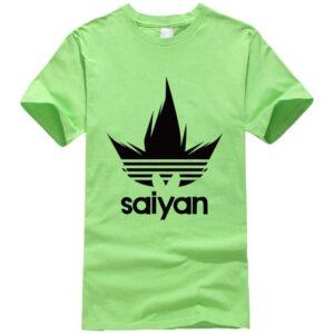 DBZ Black Saiyan Adidas Parody Print Light Green T-Shirt