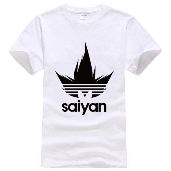 Dragon Ball Z Black Saiyan Adidas Parody White T-Shirt