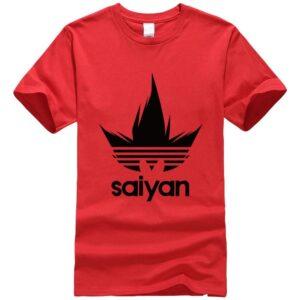 DBZ Black Saiyan Adidas Parody Print Light Red T-Shirt