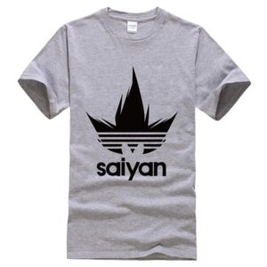 Dragon Ball Z Black Saiyan Adidas Parody Print Gray T-Shirt