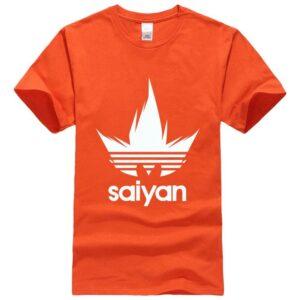 Dragon Ball Z White Saiyan Adidas Parody Print Orange Shirt