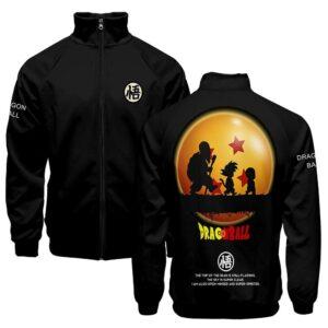 DBZ Master Roshi Goku Krillin Shadow Black Varsity Jacket