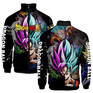 DBZ Goku's Different Fusion Forms Black Varsity Jacket