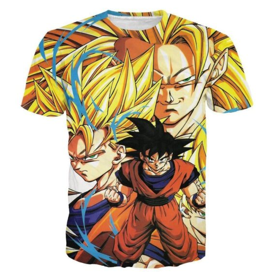 Kakarot Son Goku Forms Super Saiyan Transformation 3D T-Shirt - Saiyan Stuff