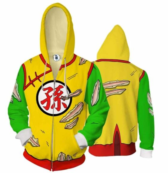 Kid Gohan Yellow Green Outfit Zip Up Cosplay 3D Hoodie