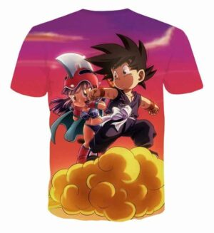Kid Goku & Chichi Flying on Golden Cloud 3D T-Shirt - Saiyan Stuff