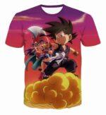 Kid Goku & Chichi Flying on Golden Cloud 3D T-Shirt - Saiyan Stuff