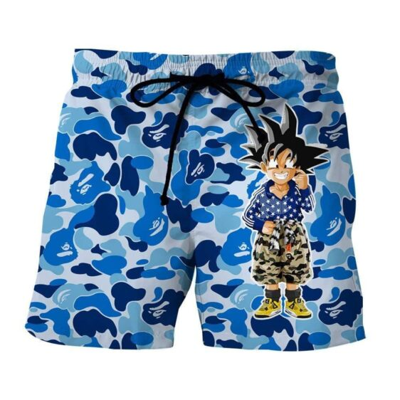 Kid Goku Hip Hop Blue Cameo Camouflage Streetwear Shorts