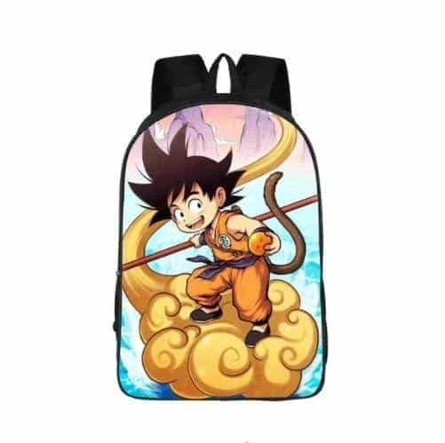 Kid Goku Rides Nimbus Cloud Cartoon School Backpack Bag