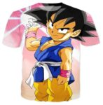 Kid Young Goku Blue Outfit Gi 3D Pink DBZ T-Shirt - Saiyan Stuff