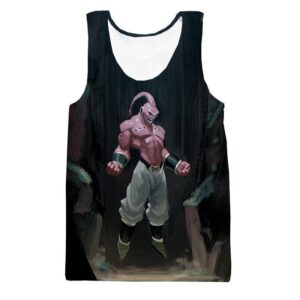 Majin Buu Pure Evil Black Painting Graffiti Art 3D Tank Top - Saiyan Stuff