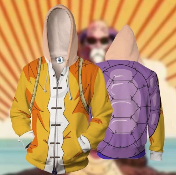 Master Roshi Turtle Shell Zip Up Cosplay 3D Hoodie