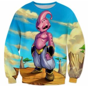 New Dragonball Kid Buu Colorful Pink Blue 3D Sweatshirt - Saiyan Stuff
