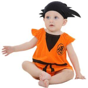 Short Sleeve Cosplay Orange Baby Onesie With Cute Hair Hat