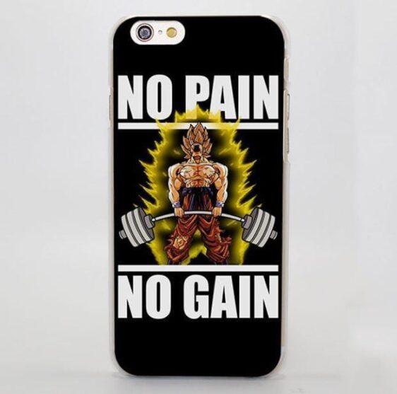 No Pain No Gain Super Saiyan Goku Hard iPhone 4 5 6 7 Plus Case