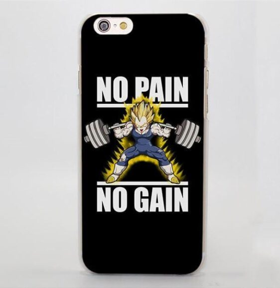 No Pain No Gain Super Saiyan Vegeta Hard iPhone 4 5 6 7 Plus Case