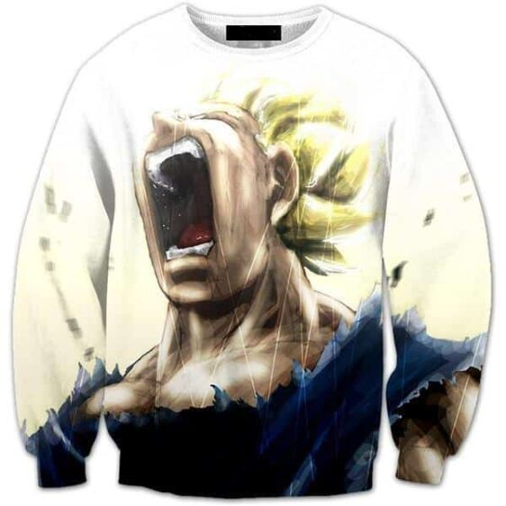 Pissed Off Angry Super Saiyan Vegeta Gets Mad Crewneck Sweatshirt - Saiyan Stuff