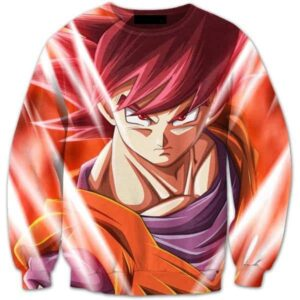 Pissed Red Haired Son Goku God Mode 3D Crewneck Sweatshirt - Saiyan Stuff
