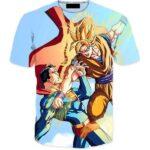 Powerful Fighter Goku Beats Superman 3D Blue T-Shirt - Saiyan Stuff