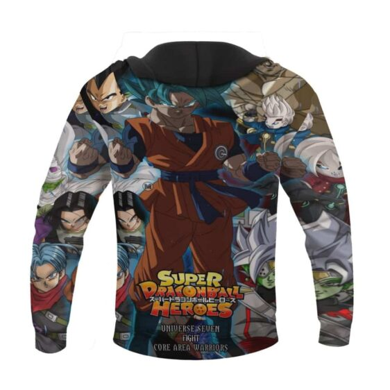 Dragon Ball Z Core Area Warriors Universe 7 Awesome Black Hoodie