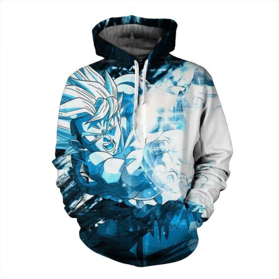 DBZ Son Goku Blue Kamehameha Powerful Super Saiyan Trendy Hoodie
