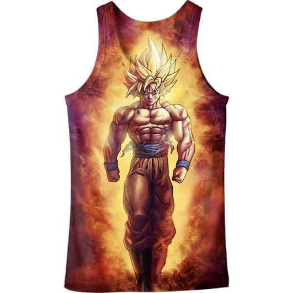 SSJ2 Son Goku Super Saiyan 2 Flame Fire 3D Tank Top