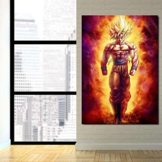 SSJ2 Son Goku Super Saiyan 2 Flame Fire 1PC Canvas Prints