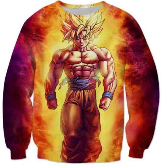 SSJ2 Son Goku Super Saiyan 2 Flame Fire 3D Sweatshirt - Saiyan Stuff