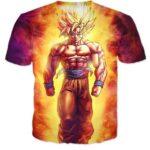 SSJ2 Son Goku Super Saiyan 2 Flame Fire 3D T-Shirt - Saiyan Stuff
