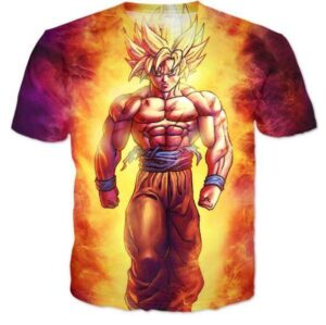 SSJ2 Son Goku Super Saiyan 2 Flame Fire 3D T-Shirt - Saiyan Stuff