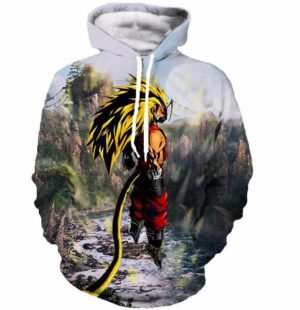 SSJ3 Goku Super Saiyan 3 River Mountain Graphic 3D Hoodie - Saiyan Stuff