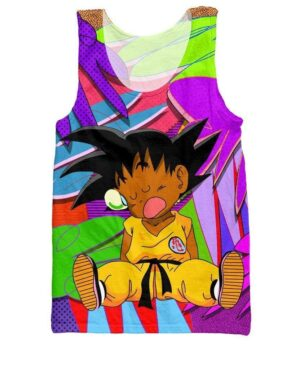 Sleepy Kid Goku Colorful Dragon Ball 3D Tank Top - Saiyan Stuff